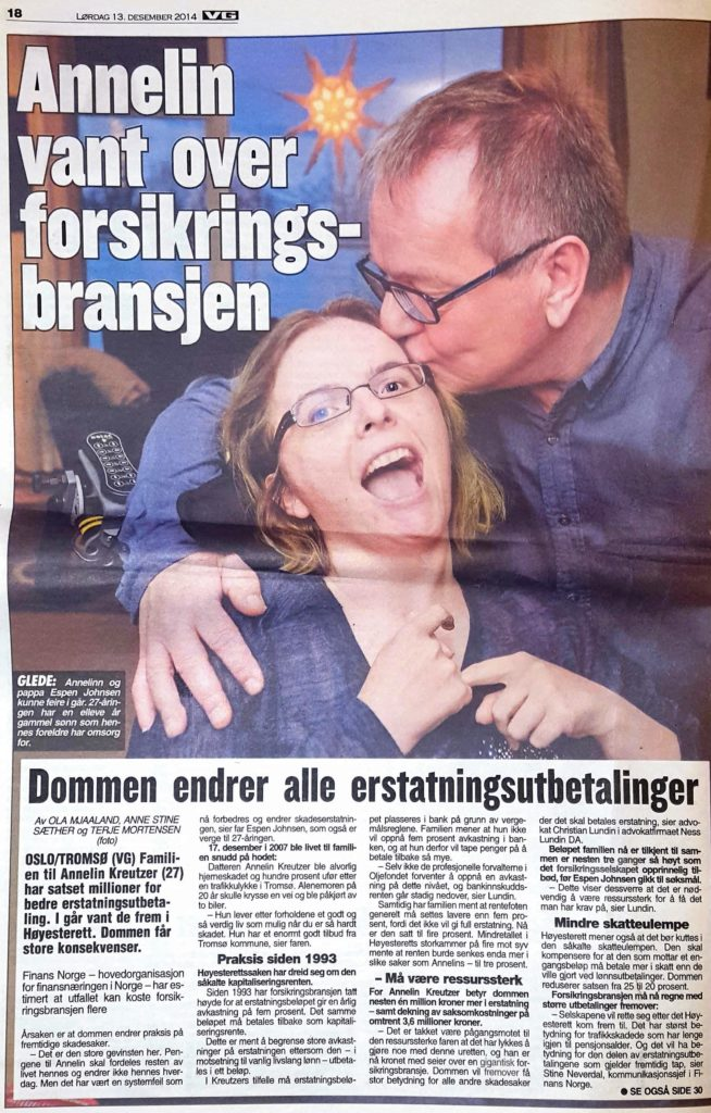 Ness Lundin - Annelin Kreutzer med far i faximile fra artikkel i vg