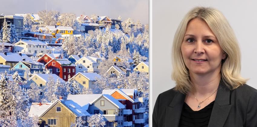 Tinglysning av fast eiendom - bilde av hus i snødekt landskap og bilde av advokat Anette Eckhoff